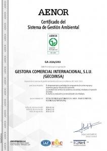 Certificado ISO-14001 Gecoinsa