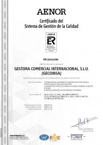 Certificado ISO-9001 Gecoinsa